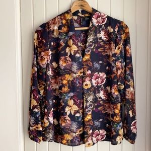 New Directions Navy Floral Top